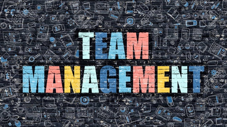 Team Management in Multicolor. Doodle Design.